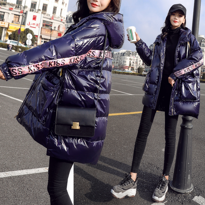 Winter Parka   Coats   Glossy jacket Women White duck   down   Jackets Long Hooded Thicken   Down   Parka   Coat   Female Loose Large size   coats