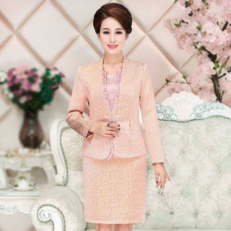 2 Pieces High Quality Fashion Autumn Winter Mid Old Aged Clothing Plus Size Slim Suits Dress Women Clothes Set