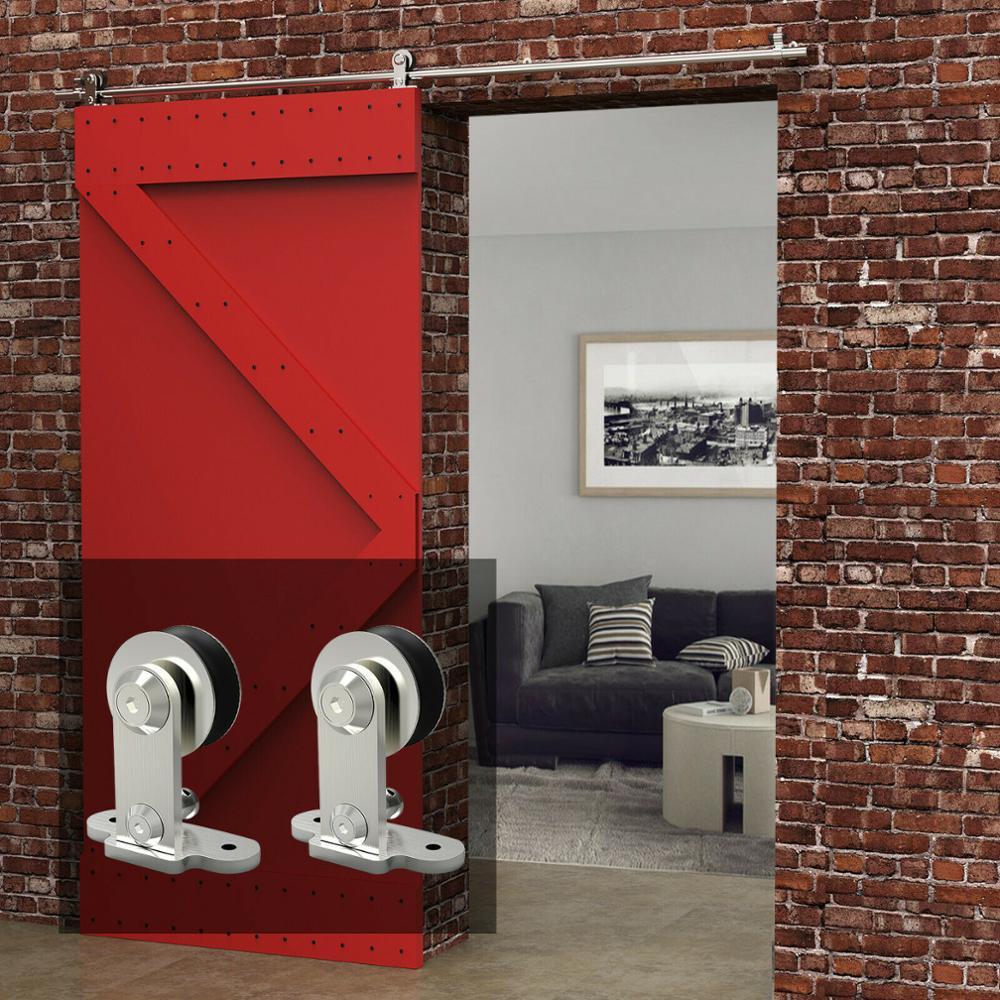 LWZH, 4-9.6 pies, en forma de T, Puerta de acero inoxidable plateada, Puerta de madera, Kit de herramientas de Puerta Corredera para una sola Puerta