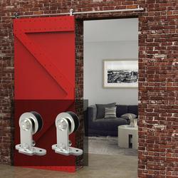 LWZH 4-9.6FT T-Shaped Silver Stainless Steel Puerta Corredera Wooden Sliding Door Hardware Kit for Single Door