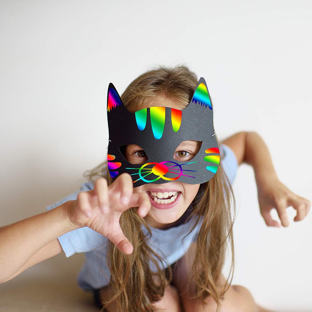 27 Set Magic Jungle Forest Animal Scratch Art Rainbow Scratch Paper Animal Masks  Cutouts Face Masks Scratching Toys