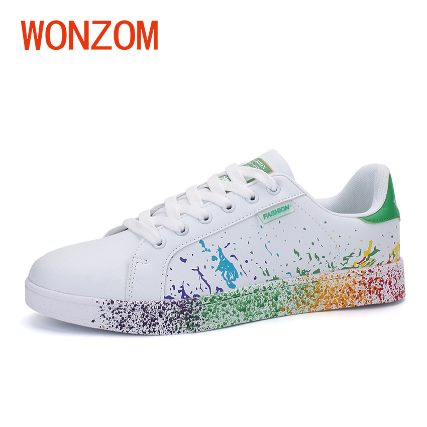 WONZOM 2018 New Unisex Casual Shoes Spring/Autumn Breathable Comfortable Footwear Men Fashion Ink-jet Flats Shoes Size 35-45 fabrecandy spring autumn men casual shoes 2017 classic breathable air mesh men shoes fashion men s flat unisex lover shoes01