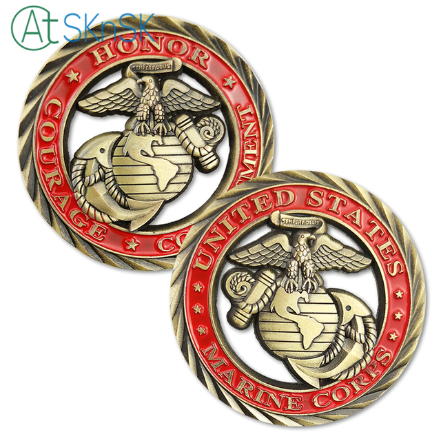 50100pcslot U S Marine Corps Challenge Coin Core Values Usmc