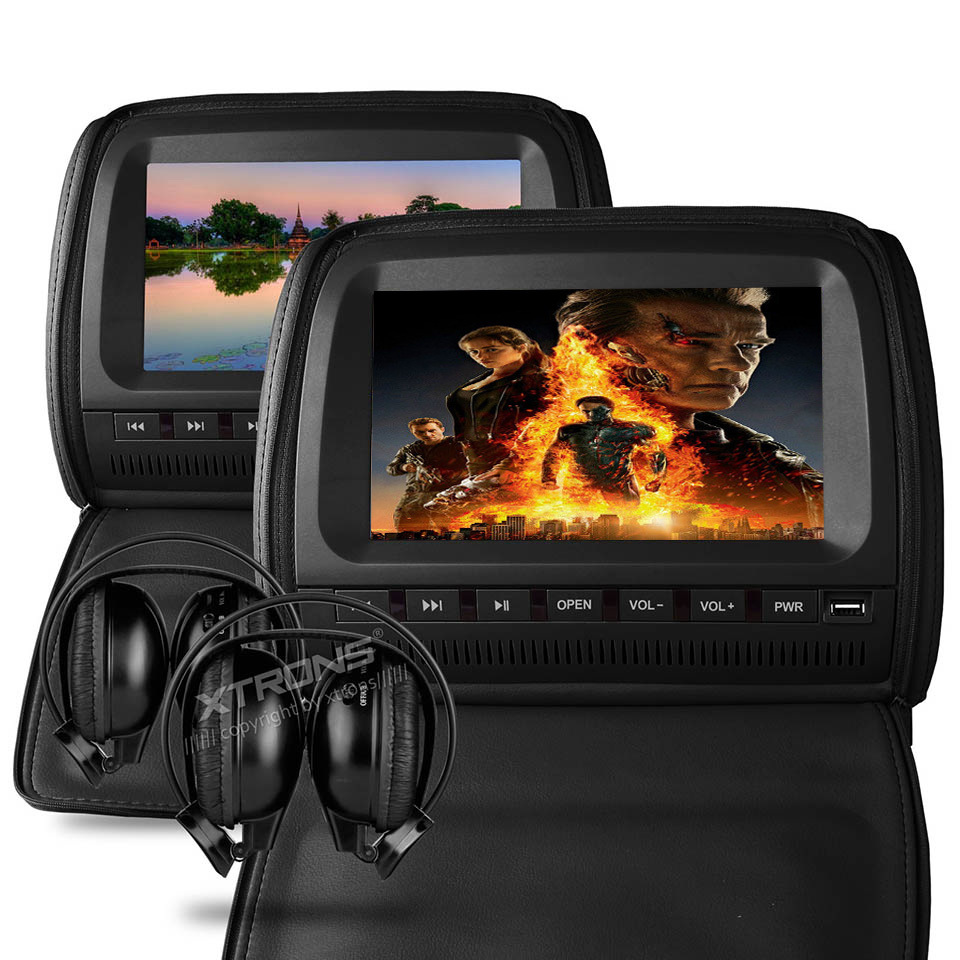 2x9 Headrest Car DVD Player Support 32 Bits Game Cover With Zipper Built-in IR FM USB SD Seatback Digital Screen Pillow Monitor