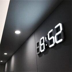 3D LED Wall Clock Modern Digital Alarm Clocks Display Home Kitchen Office  Table Desk Night Wall Clock 24 or 12 Hour Display