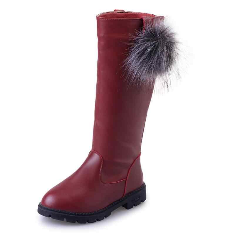 Новые зимние резиновые сапоги для девочек средние большие дети теплые хлопковые сапоги с мехом волосы мяч модные сапоги до колена милые