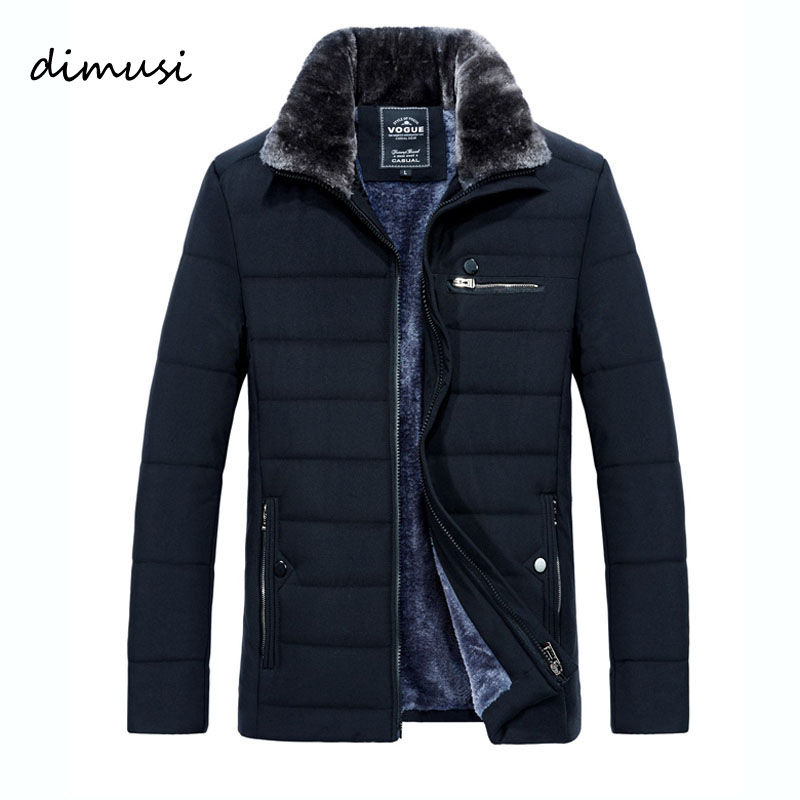 DIMUSI Winter Men Thick Warm Jacket Male Cotton Fluff Lining Parkas Male Casual Fur Collar Outwear Windbreaker Hooded 5XL,TA1208
