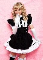 2017 Women Cosplay Party Halloween Black Lolita Fancy Dress Adult Women Sissy Maid Uniform Sexy French Maid Costumes