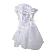 Bridal Satin Lace Up Back Overbust  Corset  Dress