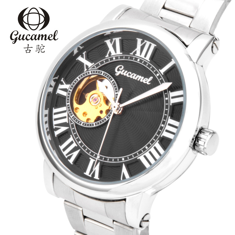 Genuine GUCAMEL Fashion Brand Mens Mechanical Wristwatches Steel Leather Waterproof Automatic Male Business Watch Marca Famosa мужской ремень cinto couro marca