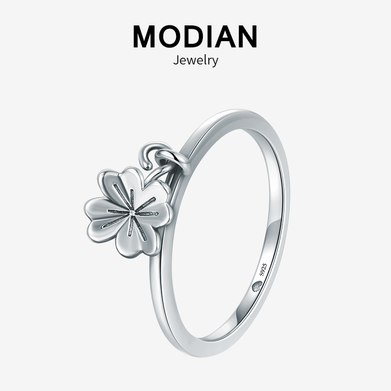 Modian Minimalist Charm Flower Clover Swing Fashion Ring Real 925 Sterling Silver Exquisite Vintage Rings For Women Fine Jewelry
