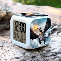 3D Anime Train Your Dragon Alarm Clock Creative Colorful LED Multi Function Alarm Clock Cartoon Train