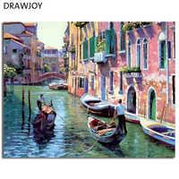 Венецианский пейзаж, Безрамные Картины, живопись по номерам, сделай сам, цифровой холст, ручная роспись, картина маслом, водный город, домашн...