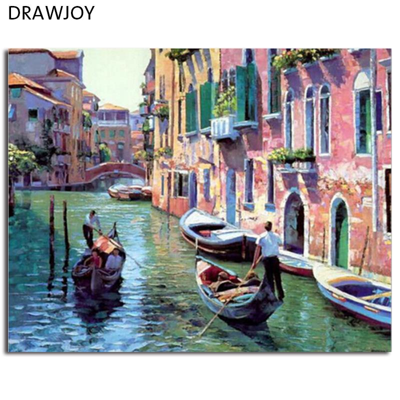 Venice Landscape Frameless Pictures Painting By Numbers DIY Digital Canvas Handpainted Oil Painting Water City Home Decor G086
