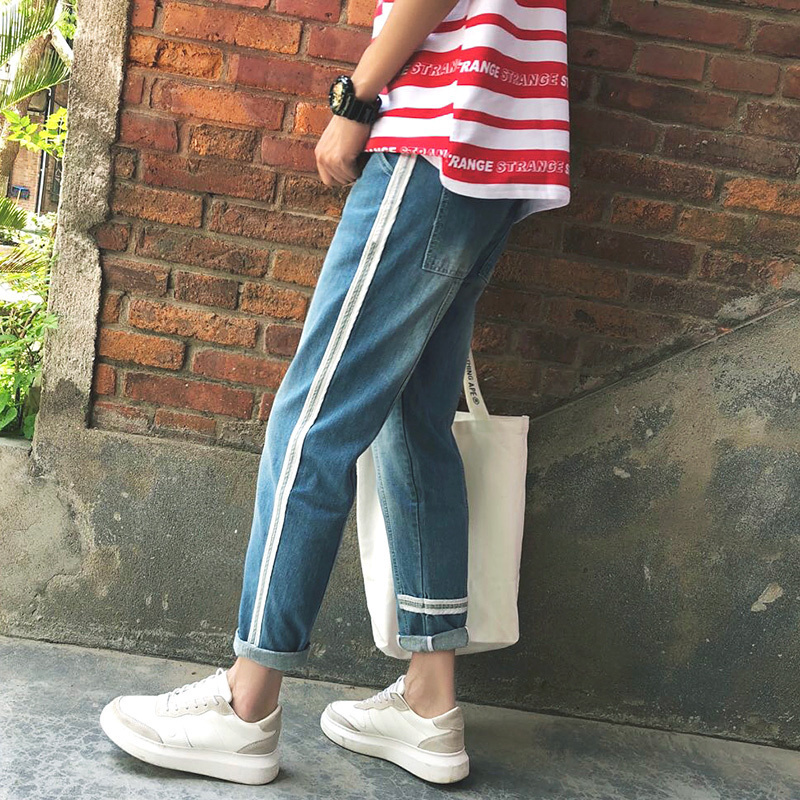 2018 New Mens Fashion Trend Blue Side Stripe Cotton Cowboy Casual Pants Stretch Slim Fit Jeans Trousers 28-34 Free shipping