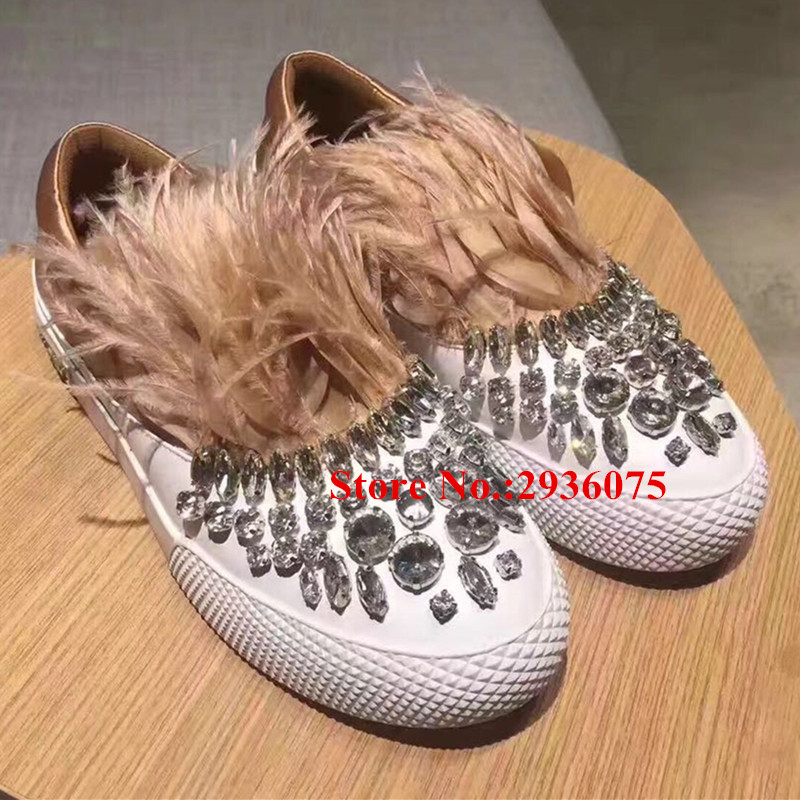 Satin Silk Patckwork Women Casual Shoes Furry Feather Rhinestone Embellished Slip-On Flat Loafers Crystal Fur Ladies Shoes Woman spring newest flat shoes 2017 pointed toe crystal embellished woman shoes slip on casual shoes gold rhinestones loafers