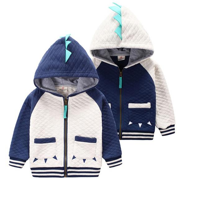 2-7 anos das crianças clothing meninos meninas dinossauro do hoodie jaqueta de algodão dos desenhos animados crianças casacos de inverno meninos hoodies criança moletom