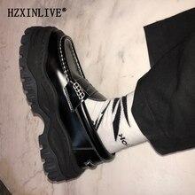 Женские массивные кроссовки; черные кожаные лоферы Angelo; Уличная обувь в уличном стиле; женская обувь на толстой резиновой подошве в стиле Харадзюку; обувь на платформе