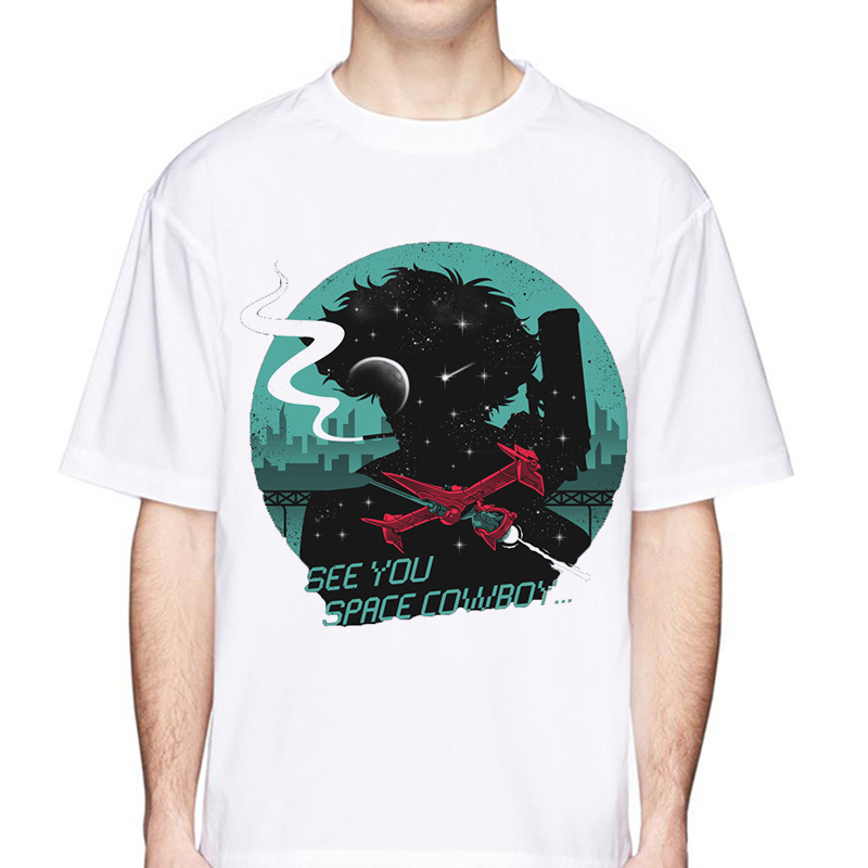 Women Juniors Black Anime Cowboy Bebop Japanese Crop Top  T-Shirt Tee
