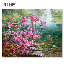 RIHE Waterfall Diy Painting By Numbers Pink Flowers Oil Cuadros Decoracion Acrylic Paint On Canvas 2018 Modern Wall Art