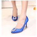 Sweet Square Rhinestone Buckle Silk Surface Women Pumps  Sexy And Fashion 6cm 8cm 10cm High Heels Women Party Shoes 35-40
