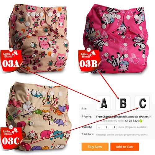 [Littles& Bloomz] Детские Моющиеся Многоразовые Тканевые карманные подгузники, выберите A1/B1/C1 из фото, только подгузники/подгузники(без вставки - Цвет: 03