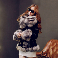 Black coats and jackets women's fur and pig leather coats with geeuine fox fur collar long sleeve luxury slim female PLUE SIZE