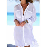 New Beach Cover up robe Plage Pocket Swimsuit Cover up Sarong Beach Shirt Tops Bathing Suit Women Beachwear Pareo Tunic