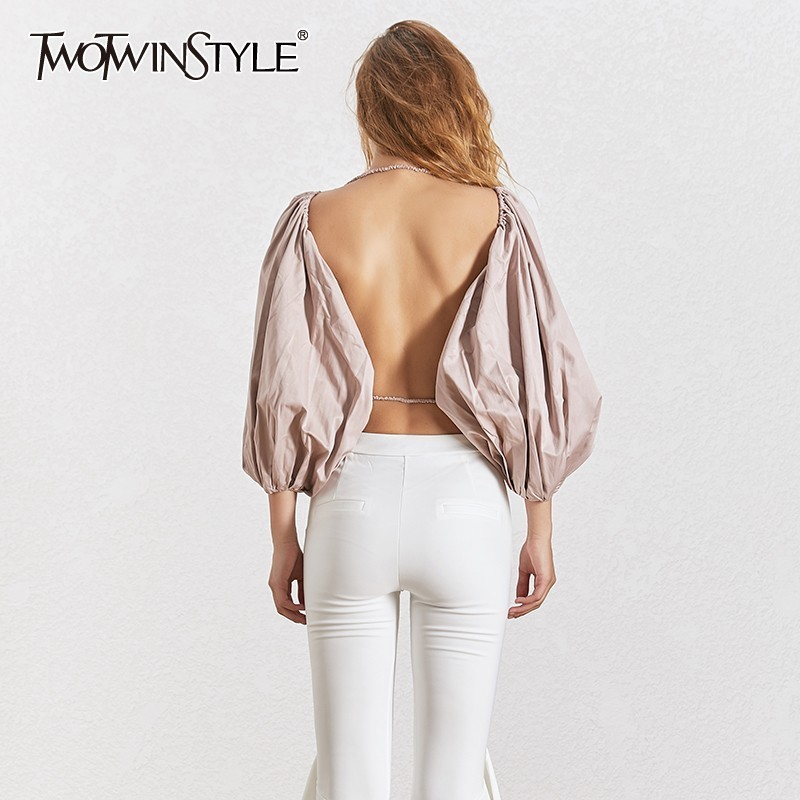TWOTWINSTYLE Summer Sexy Backless Blouse Tops Female Lantern Sleeve Shirt Women Casual Clothes 2020 Fashion New