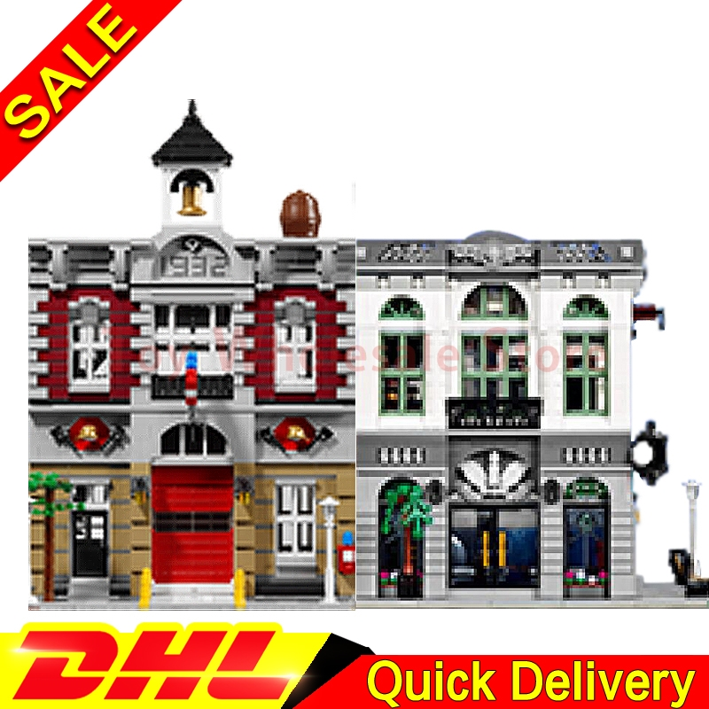 LEPIN 15001 Brick Bank +Lepin 15004 Fire Brigade Model Building Street Sight Kits Blocks Bricks lepins Toy Clone 10251 10197 lepin 15004 2313pcs city creator series fire brigade model building blocks bricks toys for children gift compatible 10197