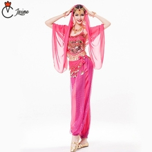 Indian costume Women Clothing Costume Set  Bollywood Dance Costumes 120D Chiffon 8 pieces