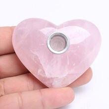 Новый упали кристалла сердца курительные трубки розовый/розовый кварц кристалл курительные трубки