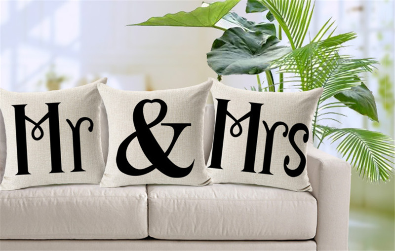 Cuscini Mr E Mrs.2015 Mr Mrs Cuscino Senza Anima Cuscini Di Cotone Di Tela