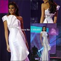Completa Sexy Pageant Vestidos Para As Mulheres Da Sereia Vestido de Noite 2016 de Um Ombro de Cristal Frisada Branco Prom Vestidos Menina Vestido Longo