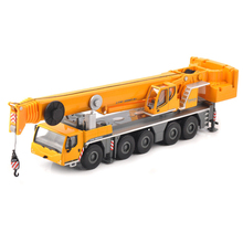 Kids Toys for children 1:87 Yellow 1/87 LTM 1250-5.1 Car Model Toy Alloy Vehicle Lifting Crane Construction Truck Collection yellow architecture construction vehicle model alloy simulation cement mixer truck toys for children buildings
