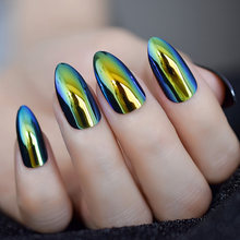 Metallic Refletive Mirror Golden Almond False Fake Nail Chrome Stilettos Sharp Metal Acrylic Artificial Stiletto Nail Art Tips(China)