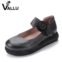2016 Women Shoes Genuine Leather Flats Platform Round Toes Comfortable Handmade Vintage Women Shoes