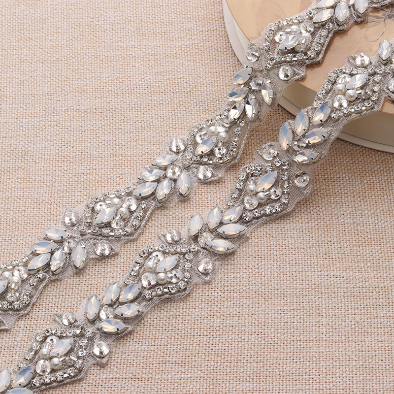 1 Yard Handmade Rhienstone Applique Crystal Silver Bridal Belt With ... 0c30de0e1f5d