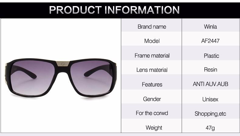 c91b7f6f474 WINLA Sunglasses Men Women Brand Designer Square Gradient Lens ...