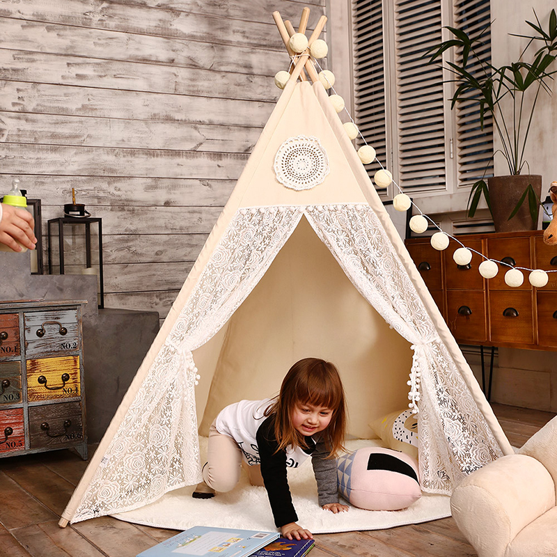 more photos 707ed 3127e Lace Teepee Tent Baby Toys Indoor Play Room for Children Tipi Girls  Playhouse Child Canvas Game House for Kids Products 4 Poles