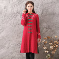 Original Mandarin Collar Autumn Women's New Fashion Red Color Long Sleeve Trench Coat Ladies Split Casual Long Outerwear Coats