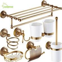 Античный Твердый латунный набор аксессуаров для ванной комнаты, резные бронзовые аксессуары для ванной комнаты, Набор матовый настенный Декор для ванной C5