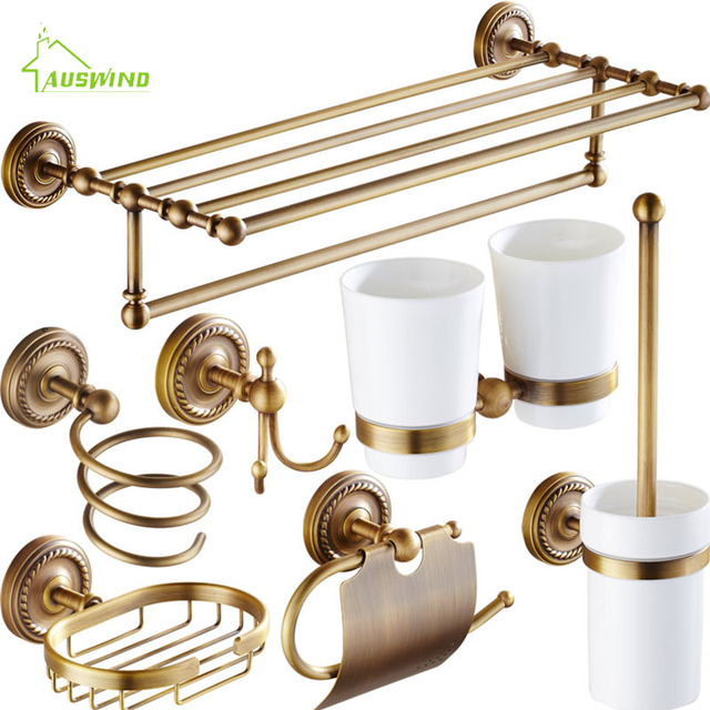 Accessori Set Intagliato Bronzo antico In Ottone Massiccio Bagno Bagno Hardware