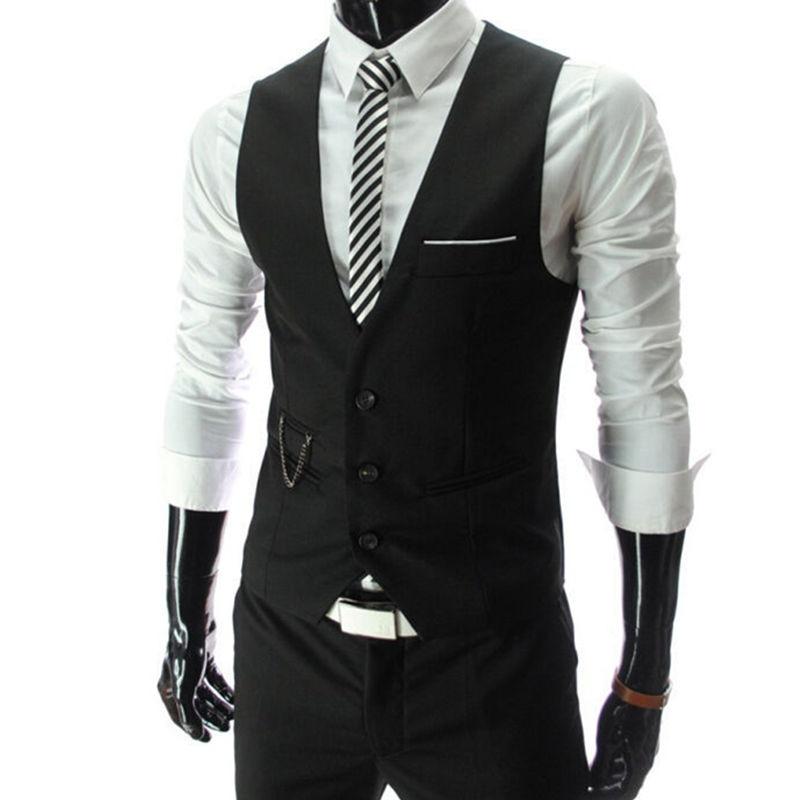 2020 New Arrival Dress Vests For Men Slim Fit Mens Suit Vest Male Waistcoat Gilet Homme Casual Sleeveless Formal Business Jacket