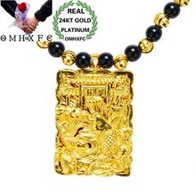 OMHXFC Wholesale European Fashion Male Party Birthday Wedding Gift Rectangle Goldfish Fu Word 24KT Real Gold Charm Pendant PN241(China)