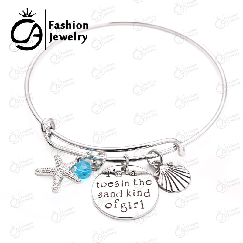 Bangles Faithful Retail Necklace I Am A Toes In The Sand Kind Of Girl Wire Bracelet Bangle Women Girls Gift Jewelry #lb824 To Win Warm Praise From Customers Bracelets & Bangles