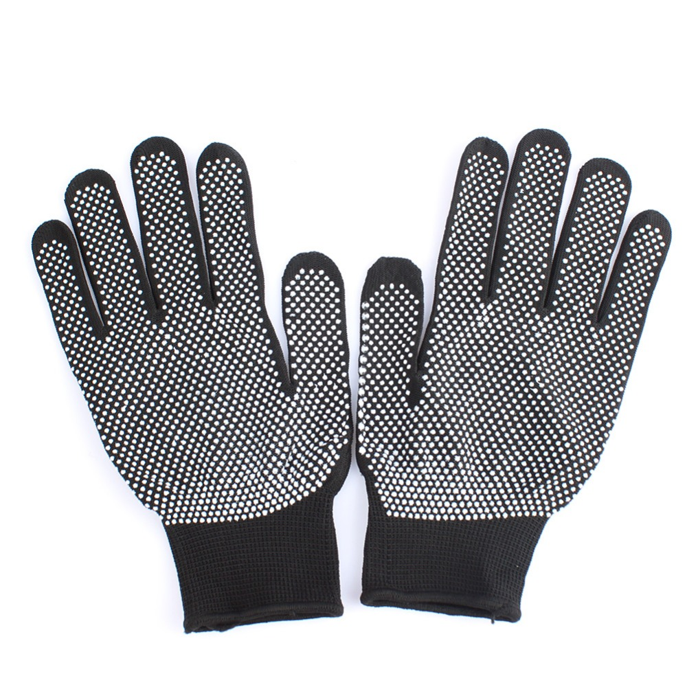 HOT Sale 1 Pair Hair Straightener Perm Curling Hairdressing Heat Resistant Finger Glove Black Grey Color #82683 2