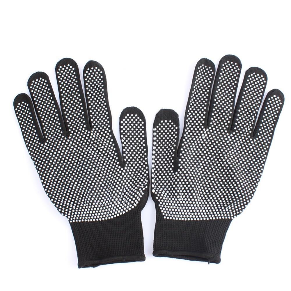 1 Paar Haarglätter Curling Tong Friseur Wärme Beständig Finger Handschuhe Skid Widerstand Burn-proof Schwarz Grau