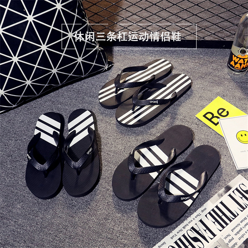 Summer Beach Slippers Men Flip Flops Fashion White Striped Soft EVA Beach Sandals Zapatos Hombre Casual Shoes For Man