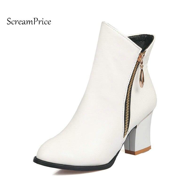 Winter Pointed Toe Side Zipper Ankle Boots Fashion Square High Heel Party Woman Boots Plus Size Black White формула здоровья жирафик 1а универсальный плюс оранжевый радуга